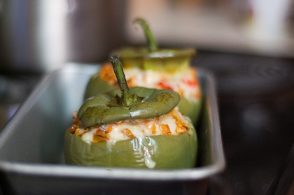Stuffed Peppers with Thanksgiving Leftovers