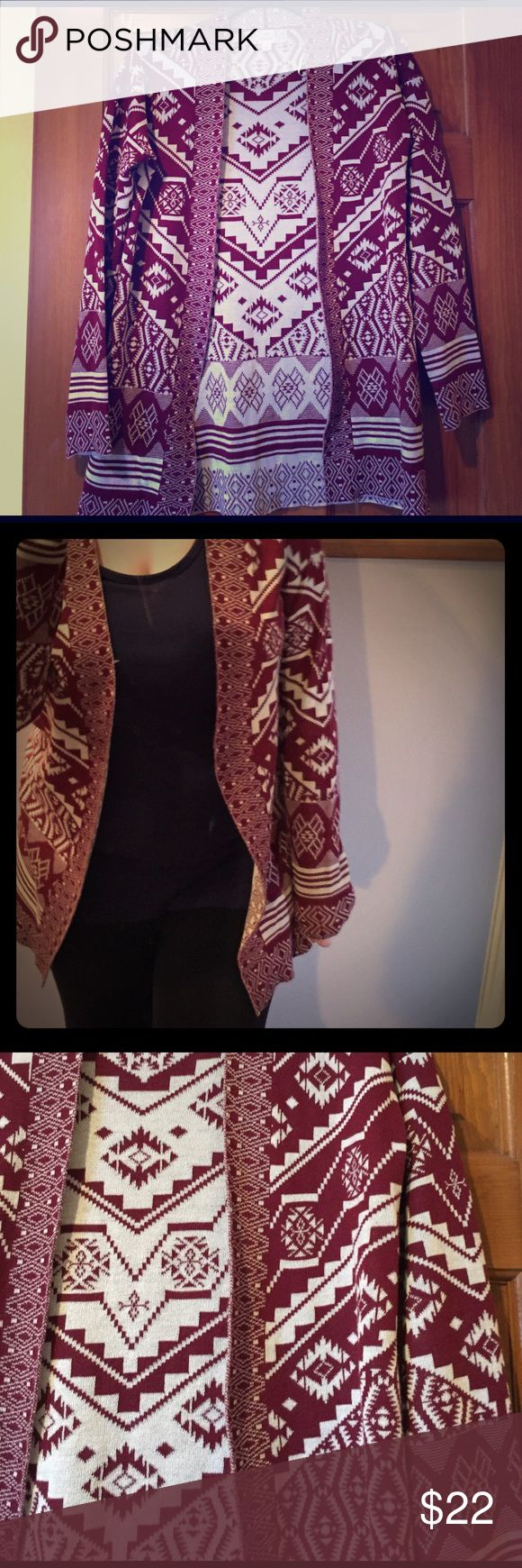 NWOT tribal print cardigan 🔆new without tag🔆 maroon and white tribal print opened cardigan.  60% cotton, 40% acrylic. ‼️I accept almost all offers‼️ Sweaters Cardigans