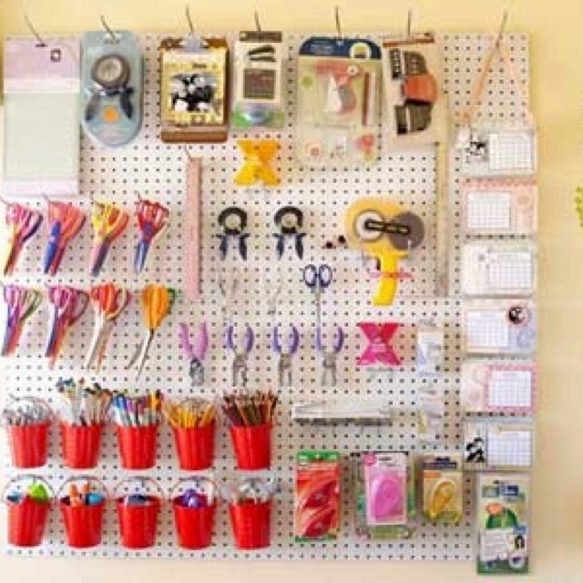 Peg board for craft supplies craft room pinterest for Craft room pegboard accessories