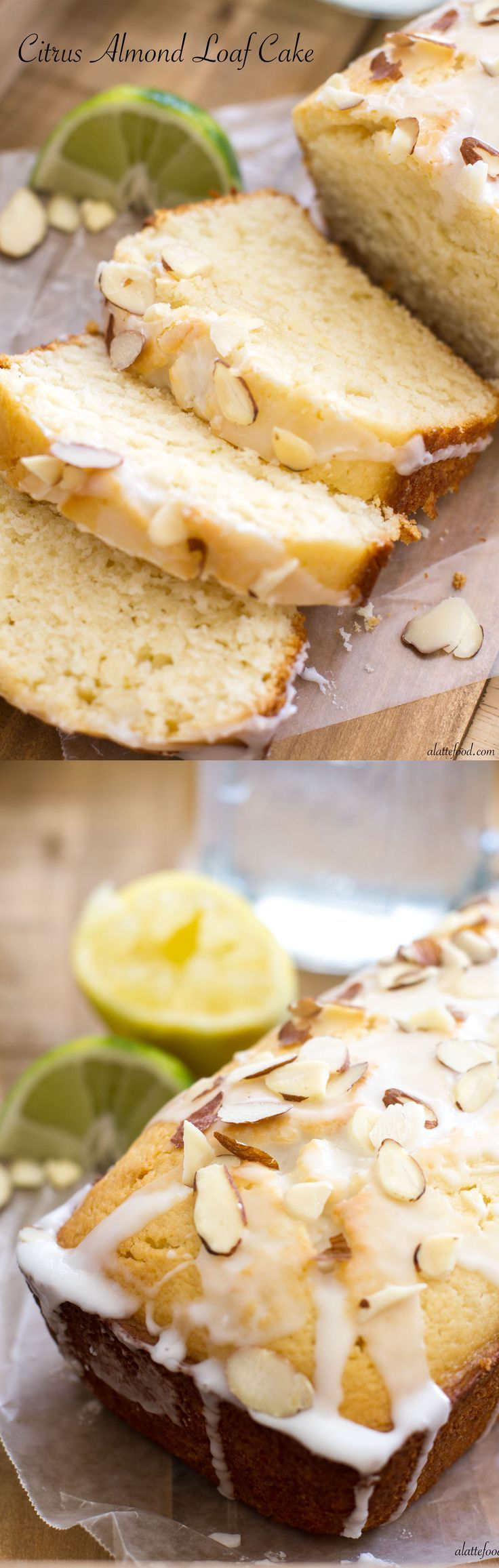 Citrus Almond Loaf Cake   Lemons and limes make up this delicious cake!   www.alattefood.com