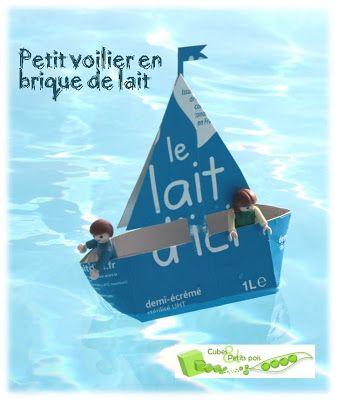 DIY Petit voilier en brique de lait - Cubes & Petits pois