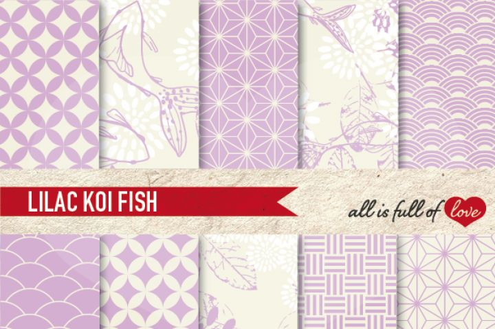 JapaneseDigital Background Patterns in Lilac :: Graphicswith…