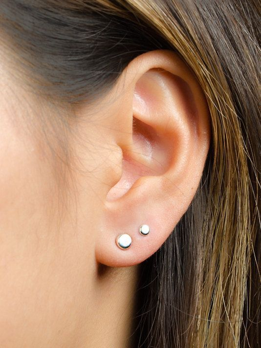 a835e0dc9 Tiny Dot Studs Sterling Silver & Gold Plated by lunaijewelry double ear  piercing earrings unique, double ear piercing elegant, double ear piercing  ...
