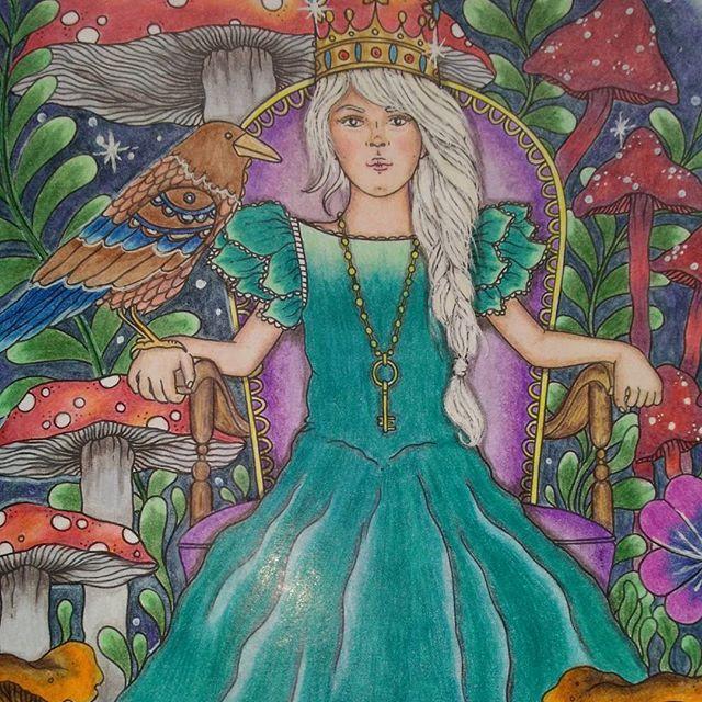 Scandinavian princess and magic mushrooms. Скандинавская принцесса и волшебные грибы. Раскраски великолепной Ханны Карлсон. #hannakarlzon#daydreams#summernight#dagdrömmar#sommarnatt#coloringbook#coloringforadults#creativecoloring#adultcoloringbook#beautifulcoloring#arttherapy#Derwent#coloursoft#раскраскаантистресс#раскраскидлявзрослых#раскраски#ханнакарлсон