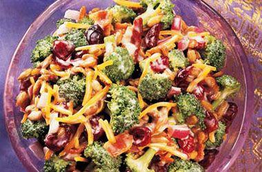 Ocean Spray Broccoli and Cranberry Salad. Try this recipe now: http://www.oceanspray.com/Recipes/Corporate/Sauces,-Sides---Salads/Broccoli-and-Cranberry-Salad.aspx?courses=SaucesSidesSalads