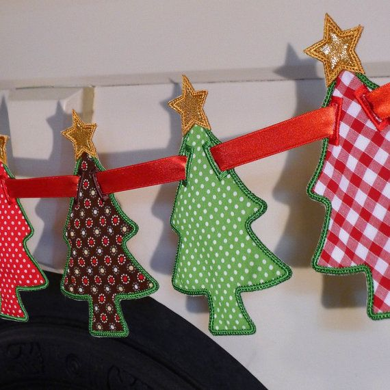 Awesome project for next christmas. Etsy listing at http://www.etsy.com/listing/79338026/christmas-tree-banner-in-the-hoop