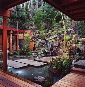"The courtyard was designed following the Japanese garden or ""Angawa"", which allows for shelter from prevailing winds while still allowing for a connection to the outdoors."