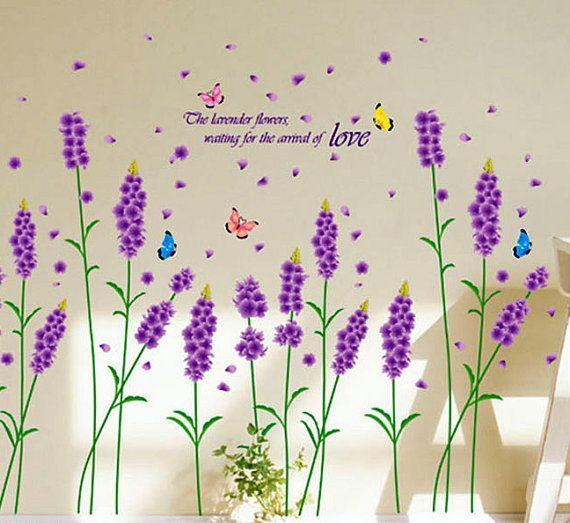 Vinilo decoracion lavanda flores por Decor18 en Etsy, €8.99