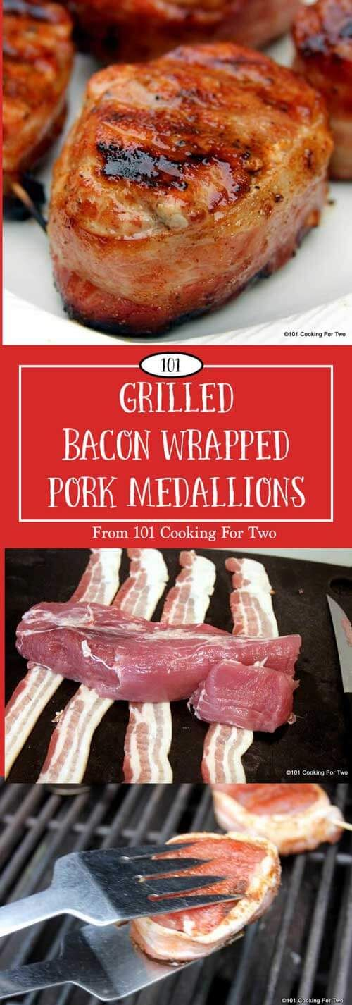 Restaurant quality elegant grilled bacon wrapped pork medallions are so easy to do. Great pork tenderloin moisture with that smoky bacon taste is bound to impress. via @drdan101cft