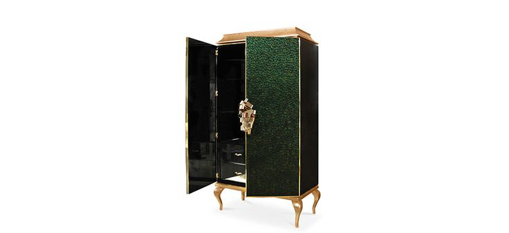 This utterly desirable double door pagoda top cabinet is covered in delicate iridescent peacock feathers each individually placed | Discover more master bedroom ideas: http://masterbedroomideas.eu