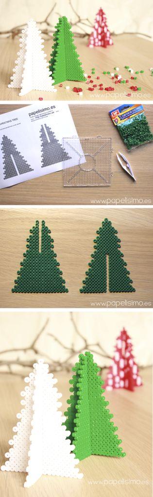 Cómo hacer árbol 3D de Navidad con tubitos tipo hama | http://papelisimo.es/como-hacer-arbol-navidad-3d-hama-beads-tubitos-colores-plastico/