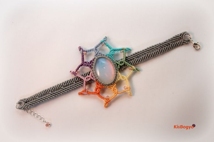 Rainbow flower macrame bracelet with opal stone in the middle