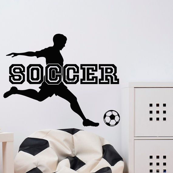 Soccer Wall Decal Sports Man Football Player Sport Gym Wall Decals Vinyl Stickers Bedroom Nursery Kids Boys Room Wall Art Home Decor  Approximate