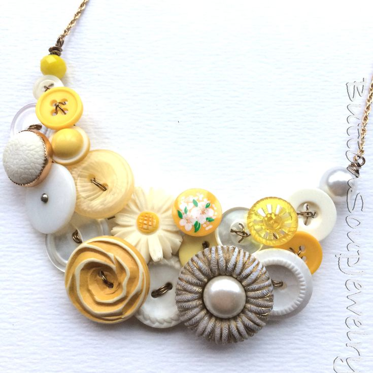 Daisy Flower Rustic Mustard Yellow and White Necklace made from repurposed buttons by buttonsoupjewelry on Etsy