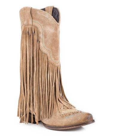 This Tan Fringe Stud-Accent Suede Cowboy Boot is perfect! #zulilyfinds