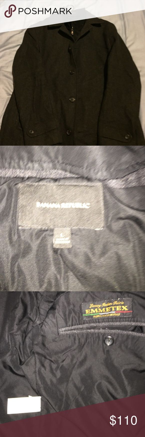 Large ladies wool,Banana Republic coat ,black Beautiful Italian wool coat only used 5 times,in great condition,no rips,has pockets and very warm and toasty.Black was on tag but has grey tones.Im new so ask me anything I may have forgot😊the back has a low cut style I tried to get into pictures. Banana Republic Jackets & Coats Pea Coats