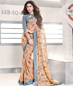 Buy Gray Georgette Printed Saree With Blouse 77710 with blouse online at lowest price from vast collection of sarees at Indianclothstore.com.
