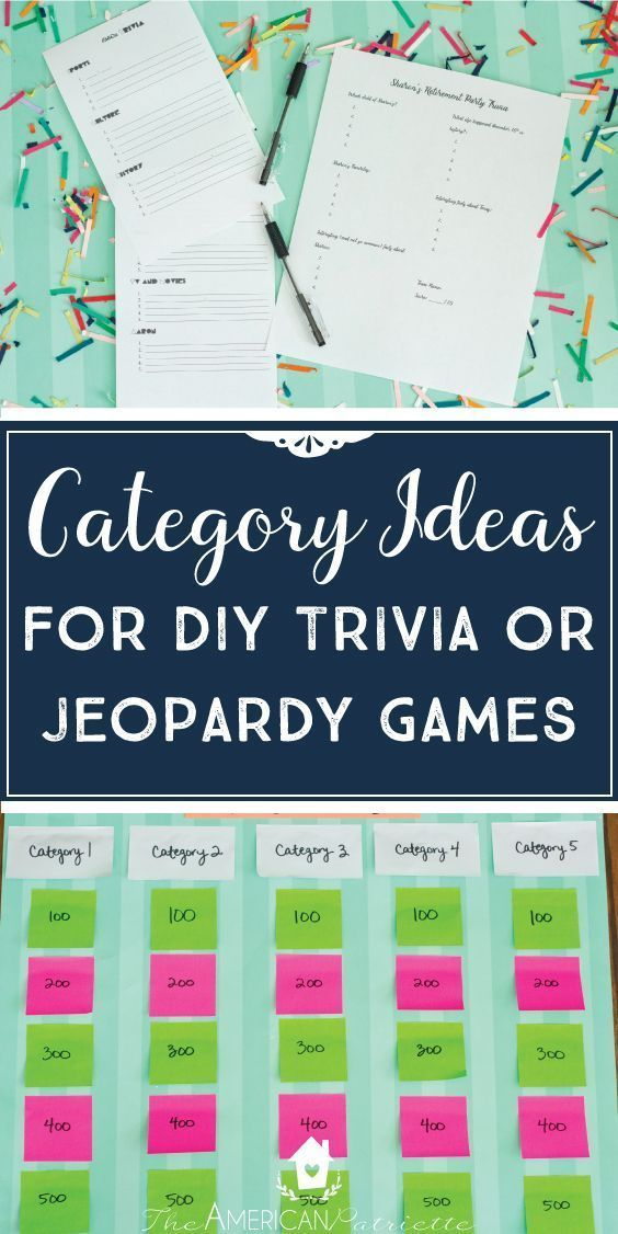photograph relating to Free Printable Birthday Party Games Adults called Classification Recommendations for Do it yourself Trivia or Jeopardy Online games (with absolutely free
