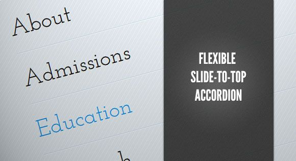 Flexible Slide To Top Accordion. http://tympanus.net/Tutorials/FlexibleSlideToTopAccordion/
