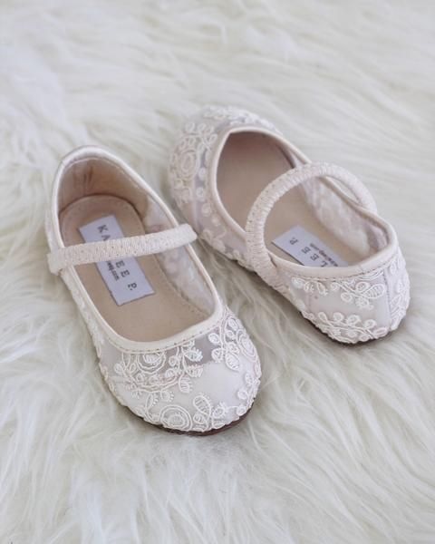 d14b50bb4 IVORY Crochet Lace Maryjane Flats in 2019 | S.A Troue | Crochet lace, Lace  ballet flats, Flower girl shoes
