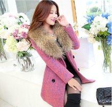 Freeshipping 2015 novo Design mulheres casaco de inverno grande gola de pele casaco de trincheira Outerwear casaco de lã feminino Elegance(China (Mainland))