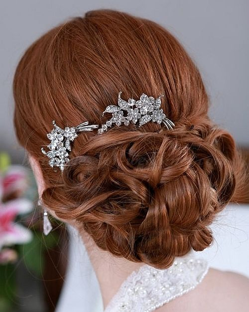 chignon wedding hairstyles, low bun wedding hairstyles - chignon with bridal hair comb