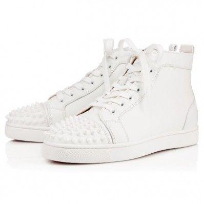 95da84838322 Christian Louboutin lou spikes men flat White Leather Mens Sne ...