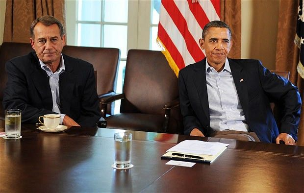 23 July 2011: US President Barack Obama meets with US Speaker of the House John Boehner in the Cabinet Room at the White House. Obama summoned top lawmakers for crisis talks on averting a debt default that could send shockwaves through the fragile global economy.