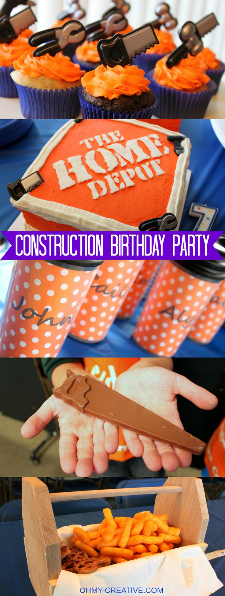 Home Depot Construction Birthday Party - a perfect party theme for the young and old alike! Great ideas for decoration, party favors and dessert tables     OHMY-CREATIVE.COM