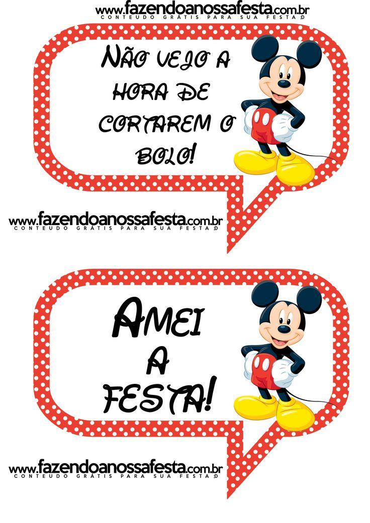 Plaquinhas Divertidas do Mickey Mouse para você imprimir e usar na sua festa!