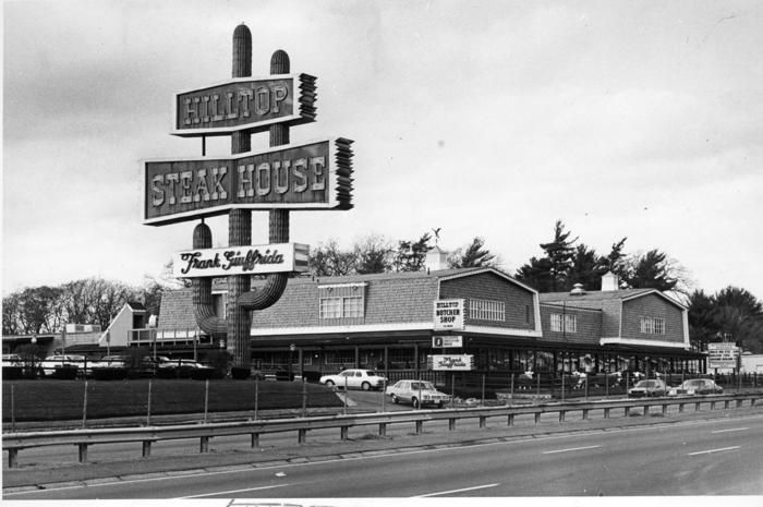"""The Hilltop Steakhouse sign is """"one of the few remaining landmarks on Route 1 in Saugus from the bygone era."""""""