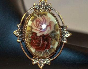 "Check out Victorian porcelain pendant necklace, Sarah Coventry ""Rose Marie"" - Vintage, 1970s on wrensnestvintage"