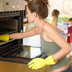How to Clean an Oven Naturally..5 TBSP Baking Soda, 4 TBSP White Vinegar and 3 drops liquid dish soap..mix until thick, apply and scrub. Wipe clean and rinse.