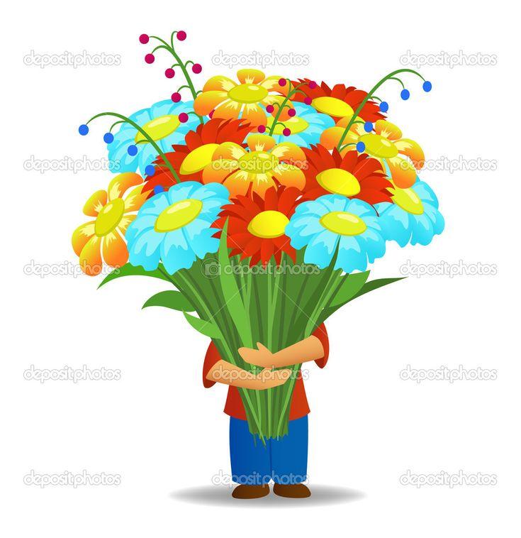 Yükle - Büyük güzel çiçekler buket tutun erkekler — Stok İllüstrasyon #6420735