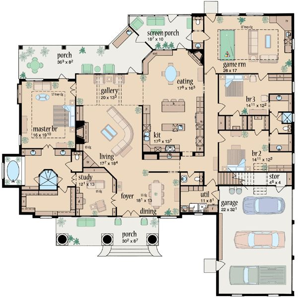 Country Style House Plans - 3737 Square Foot Home, 1 Story, 3 Bedroom and 2 3 Bath, 3 Garage Stalls by Monster House Plans - Plan 18-497