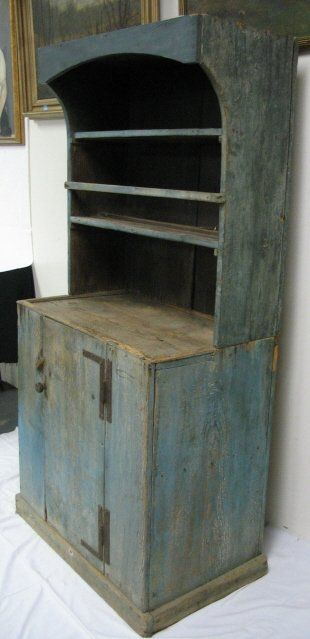 Wonderful 2 PC COUNTRY CUPBOARD IN BLUE PAINT. We Had One Painted White. Grandma Baked