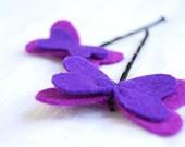 Porple mariposa sentía bobby pin - violeta mariposa clips kawaii pelo