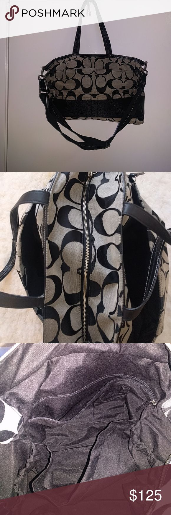 *price drop* Coach overnight/diaper bag Black and grey Coach overnight or diaper bag. Has tons of pockets inside and ample space for an overnight stay. Especially useful as a diaper bag. 2 large outside pockets ( 1 with a zipper) inside has 4 small elastic pockets perfect for storing baby bottles or water bottles. Coach Bags Travel Bags