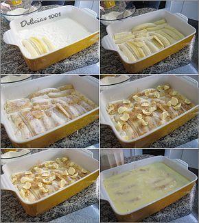 Há séculos que não fazia essa. Eu tinha na fruteira de casa umas bananas dando mole e revivi nessa receita, tudo em camadas, fácil demais! Comecei pelas misturas. Separe em duas tigelas. Mistura d…