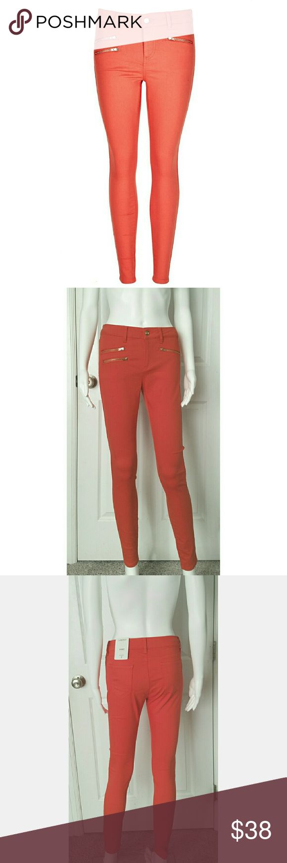 """Deep coral zippered skinny ankle jean Deep coral (red orange) skinny jean (jegging) with rose gold toned zippers. Top pocket on both sides functioning, lower pocket on one side is decorative. Matching fly zipper & button. Have a slight washed look. Attention these are labeled UK (I imported them). The size you select for purchase will be the US converted sizes but when you receive the item it will have the UK size on the label (2 sizes up). Inseam is approx 29.25"""" reg. NO TRADES Marks…"""