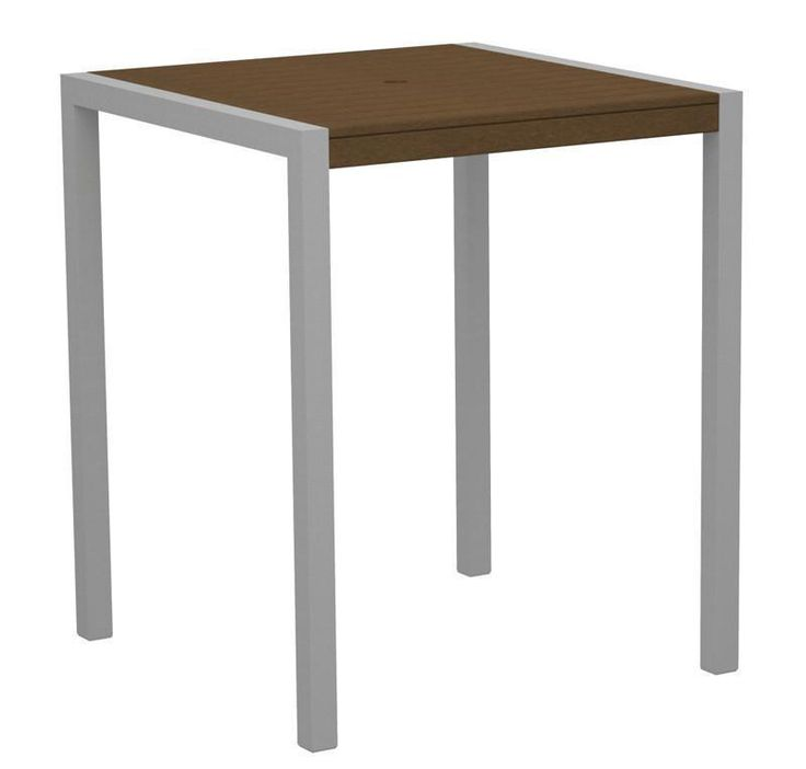 "Polywood 8102-11TE MOD 36"" Bar Table in Textured Silver Aluminum Frame / Teak"