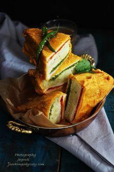 Jagruti's Cooking Odyssey: Three layer Deep fried Bread Stuffed with potatoes and chutneys