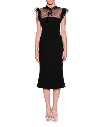 Tulle+Tie-Neck+Cady+Cocktail+Midi+Dress+by+Dolce+&+Gabbana+at+Neiman+Marcus.