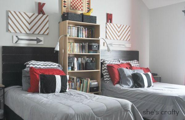 Boys Room- grey, red and black lego storage, gallery wall, Harry Potter, planked head board, arrow, grey chevron