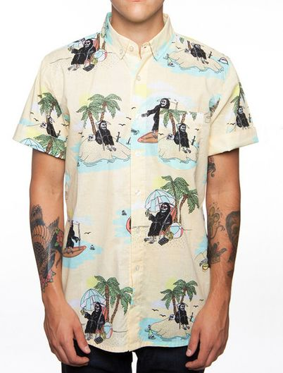 Glamour Kills grim reaper button up available at Adrenaline Toronto.