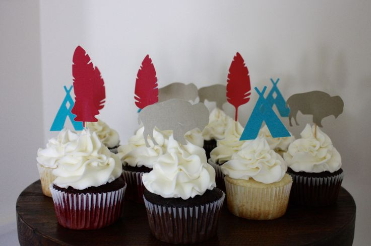 Tribal cupcake toppers for first birthday party!  thegatheringhost.com
