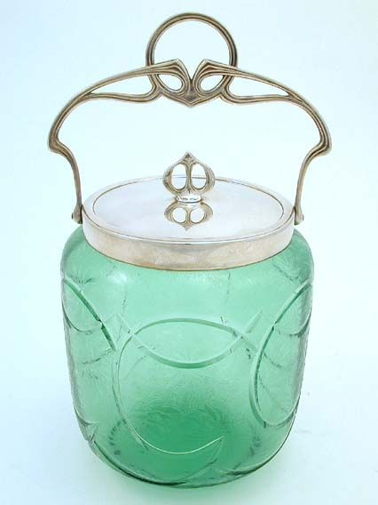 WMF  Etched and cut green glass biscuit barrel with silver plated Art Nouveau mounts  Germany  c.1910