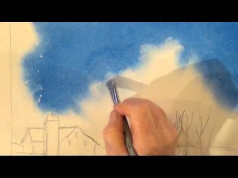Painting Clouds in Watercolour - different paint lifting techniques - normal damp brush + tissue, a 'scrubbing brush', a 'Mr clean' eraser (American only?)