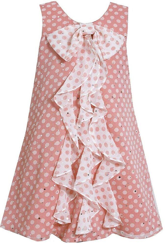 17d87d172ef4e Bonnie Jean Little Girls Summer Coral Sparkle Chiffon Social Dress 6 New # BonnieJean #ALine #FormalParty