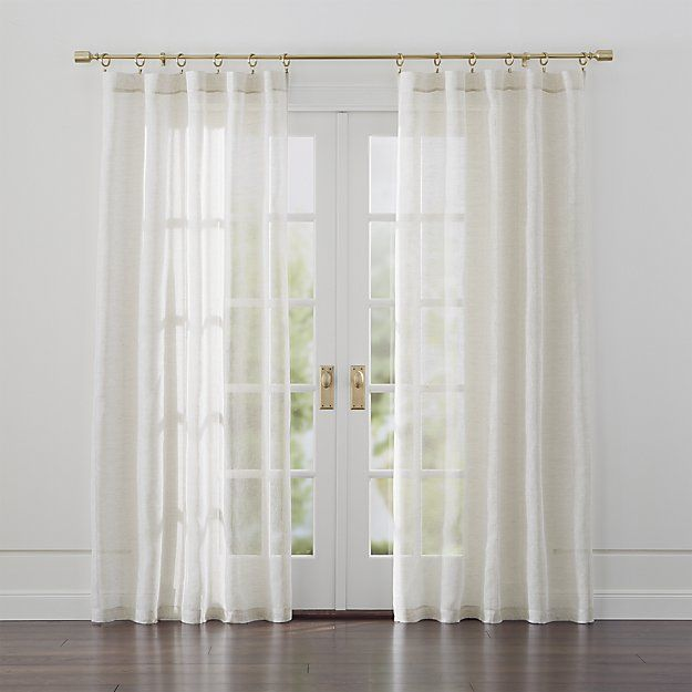 "Open-weave linen diffuses light beautifully. Unlined panel has 3"" rod pocket and 3"" hem. <a href=/rugs-and-curtains/curtain-hardware/1>Curtain hardware</a> also available.<br /><br /><NEWTAG/><ul><li>100% European Flax Linen</li><li>3"" rod pocket, 3"" hem</li><li>Dry clean</li><li>Made in India</li></ul><br />"